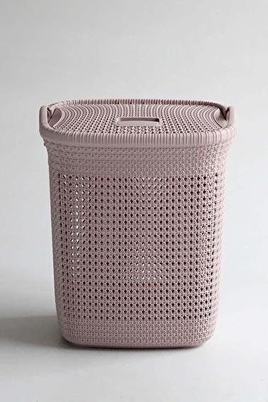 Arma House Örgü Desenli Toz Pembesi Rengi Plastik Kirli Çamaşır Sepeti 52 Lt Pudra
